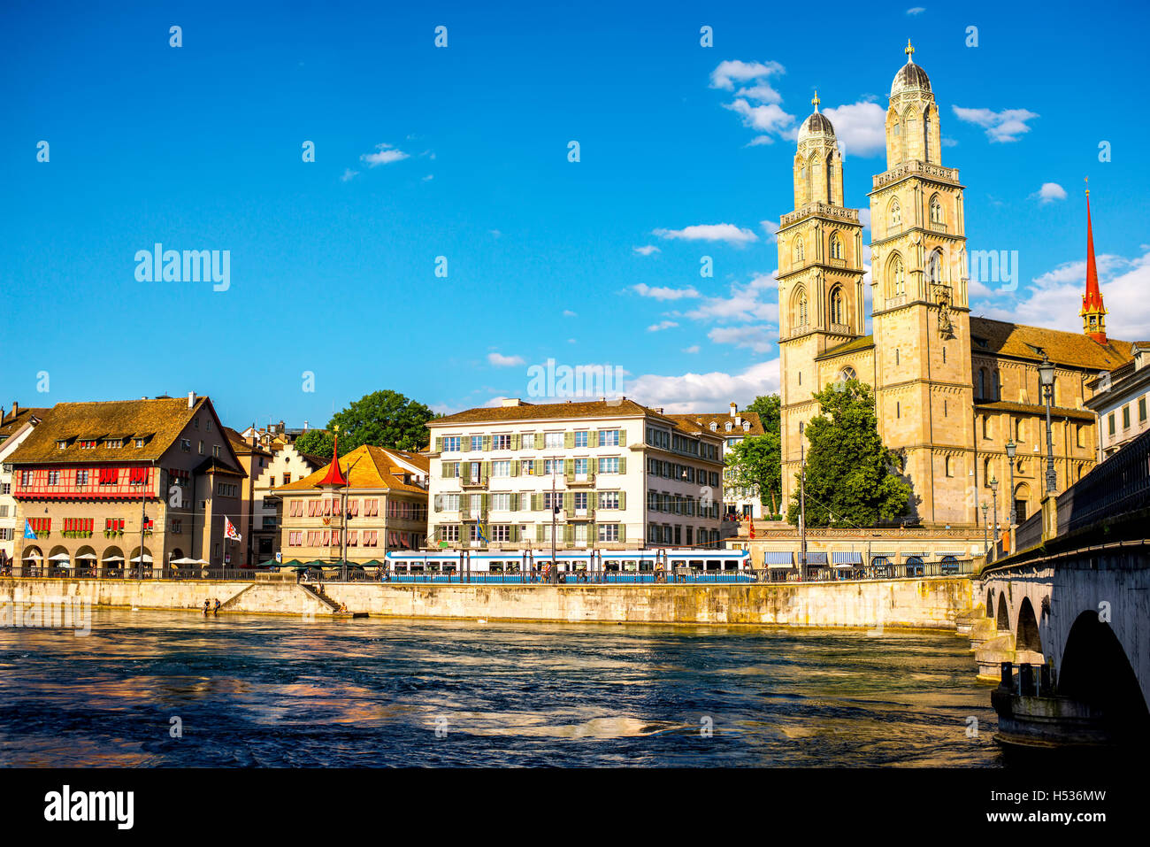 Cityscape view in Zurich city - Stock Image