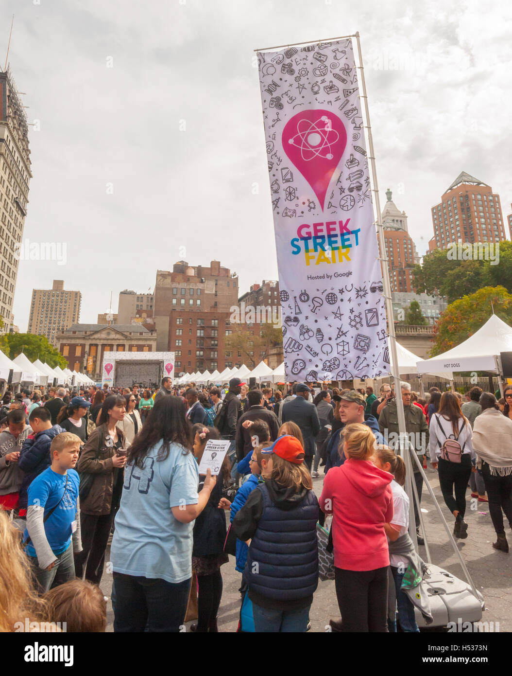 Participants in the Geek Street Fair in Union Square Park in New York on Thursday, October 13, 2016. Sponsored by - Stock Image
