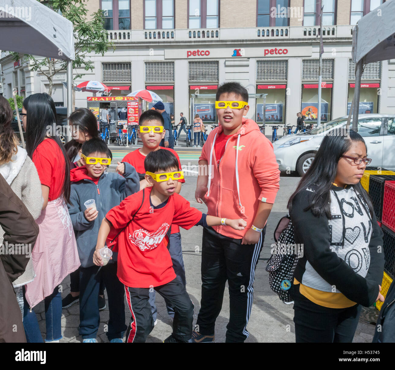 Participants wearing diffraction glasses in the Geek Street Fair in Union Square Park in New York on Thursday, October - Stock Image