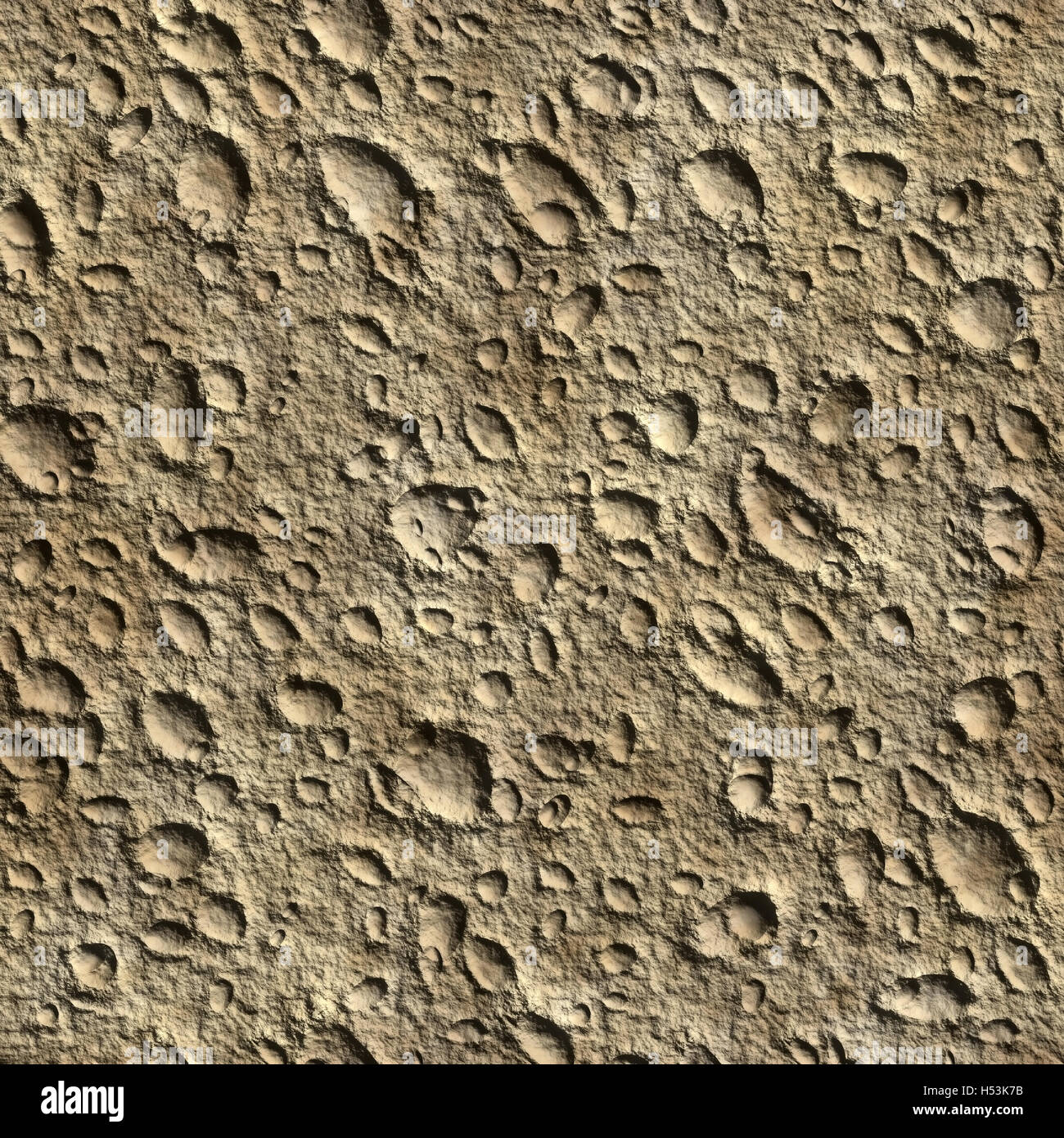Background unearthly surface with craters. Picture seamless texture - Stock Image