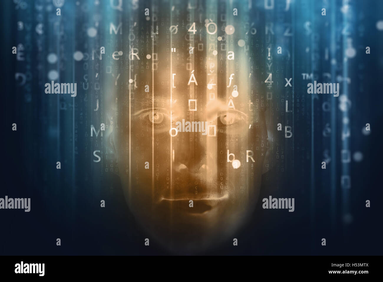 face in binary code - Stock Image