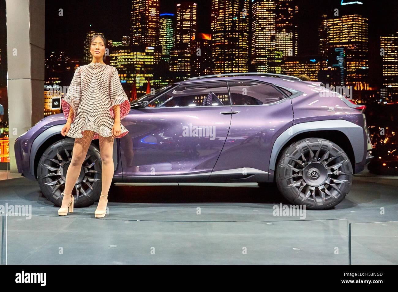 Paris, France - September 29, 2016: 2016 Lexus UX Concept presented on the Paris Motor Show in the Porte de Versailles - Stock Image