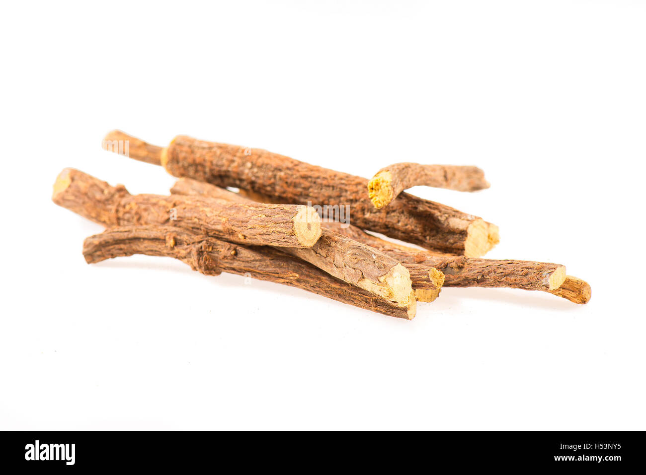 Licorice sticks isolated on white background - Stock Image