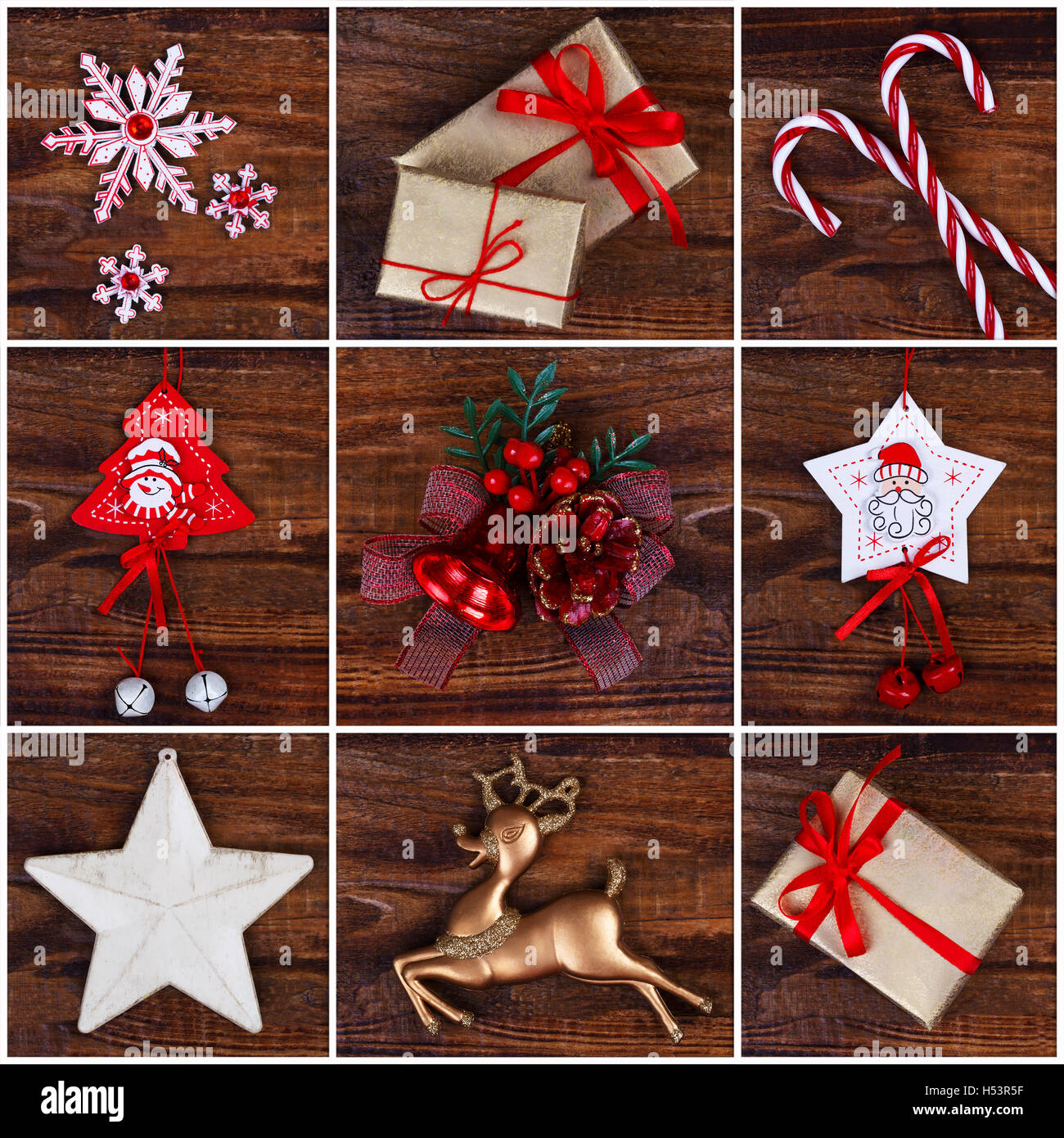Christmas decorations collage for greetings card or background - Stock Image