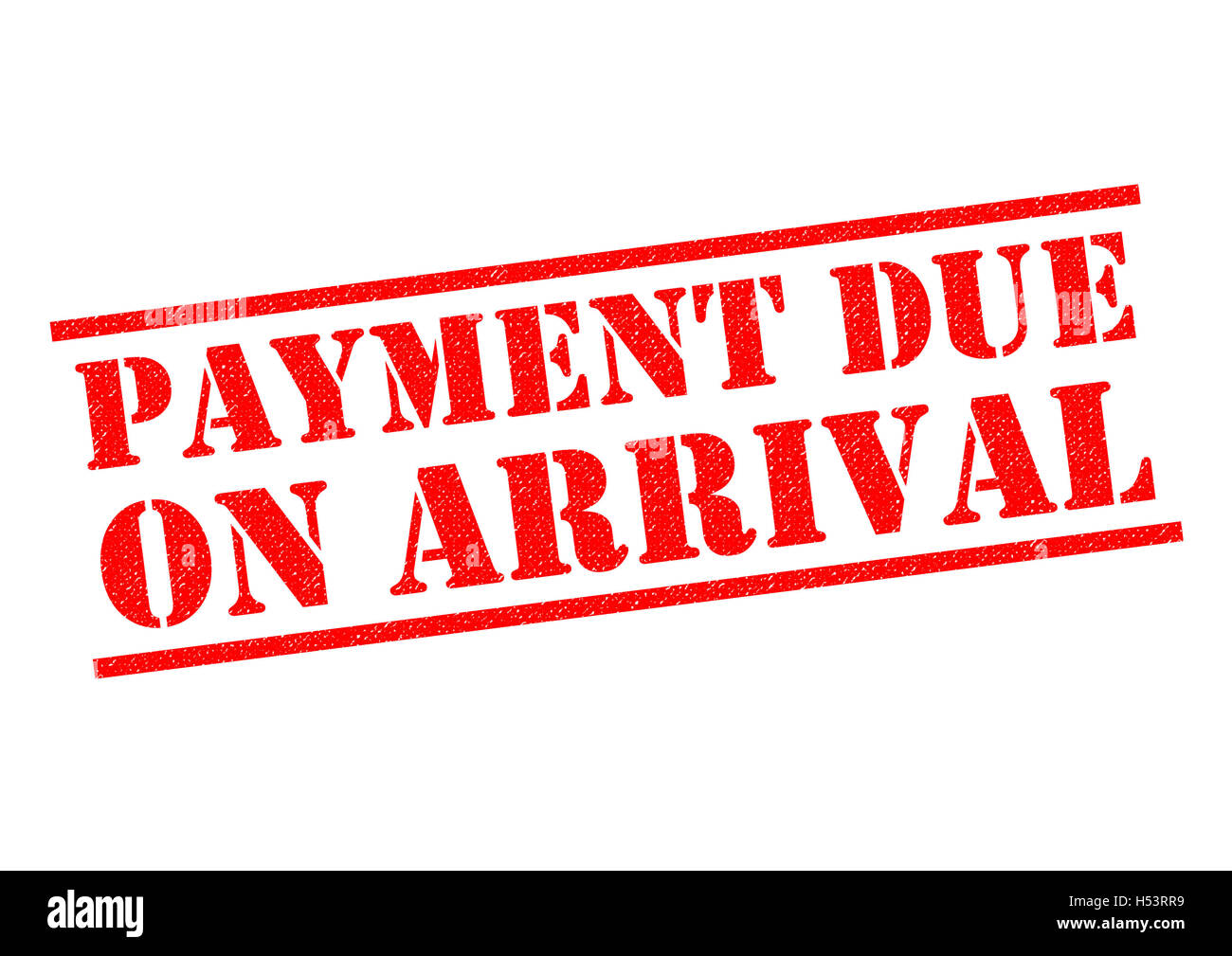 PAYMENT DUE ON ARRIVAL red Rubber Stamp over a white background. - Stock Image