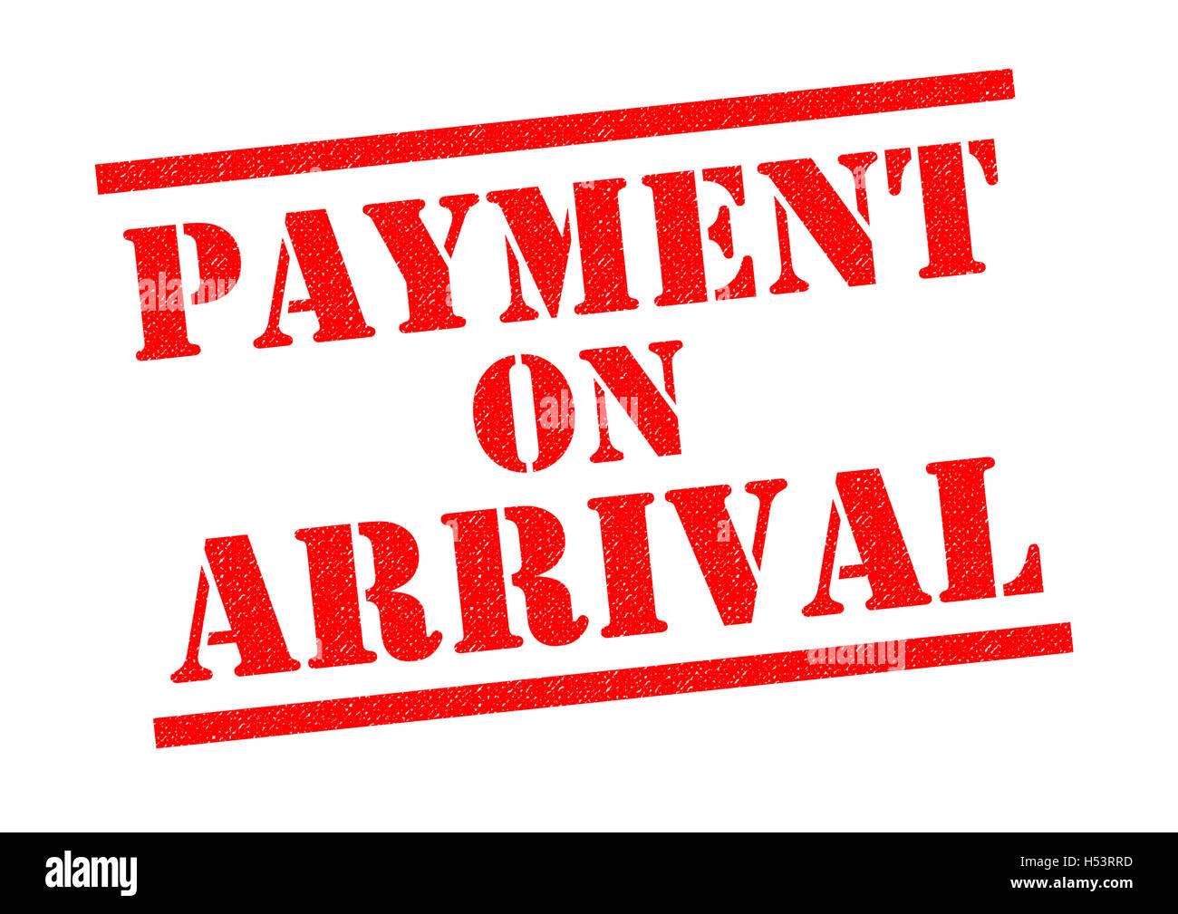 PAYMENT ON ARRIVAL red Rubber Stamp over a white background. - Stock Image