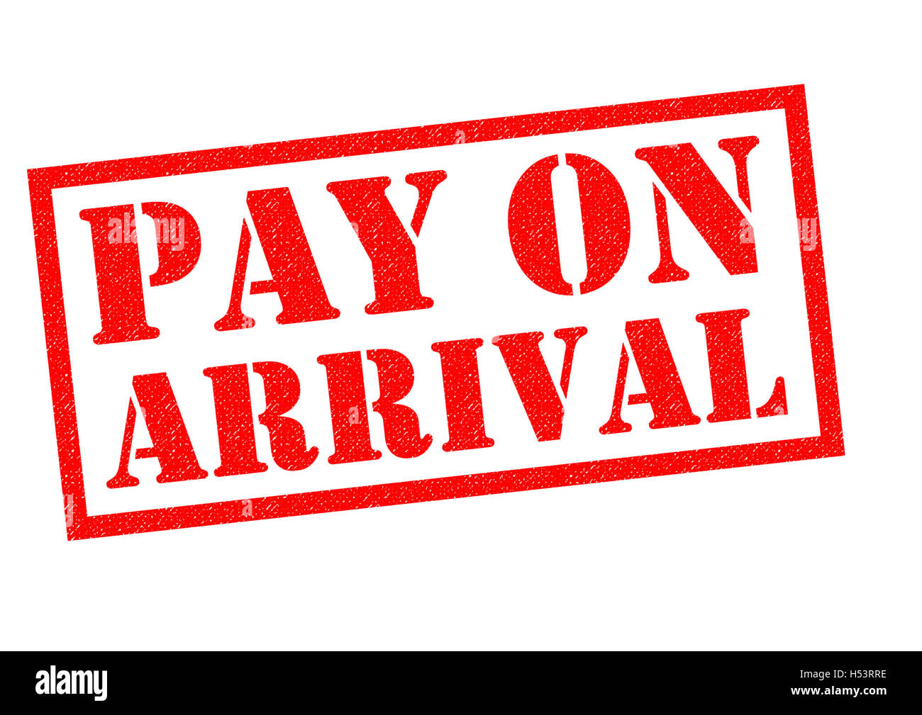 PAY ON ARRIVAL red Rubber Stamp over a white background. - Stock Image