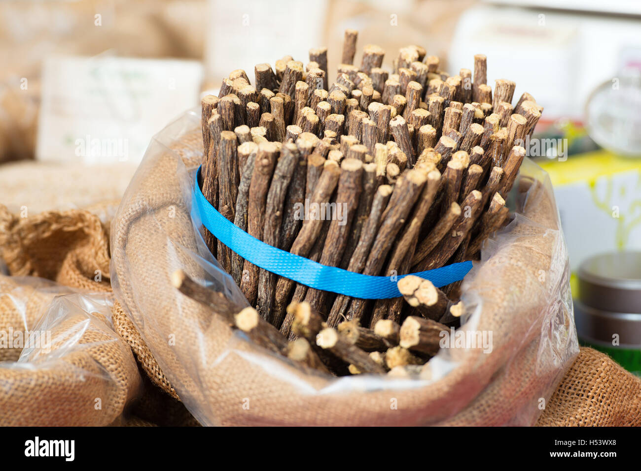 Licorice sticks packed street markets - Stock Image
