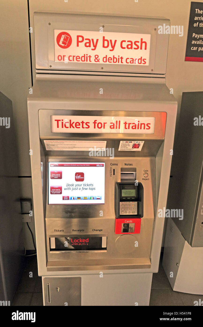 Self-service rail ticket machine for British trains, Warrington, Cheshire, UK - Stock Image