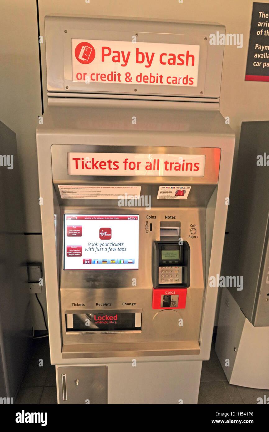 Self-service rail ticket machine for British trains, Warrington, Cheshire, UK - Stock Image