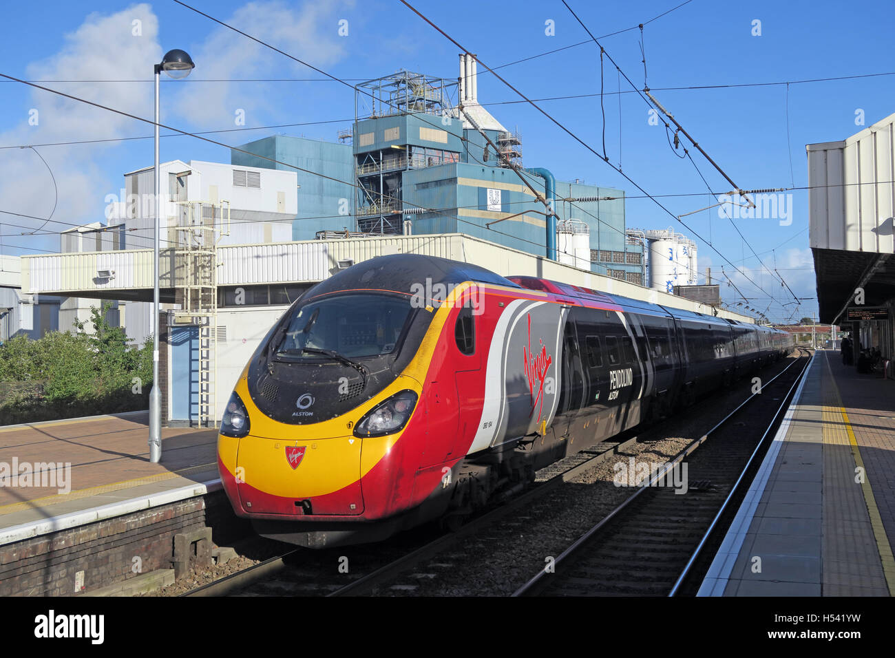 Pendolino at Warrington Bank Quay Rail Station, WCML Cheshire, England,UK - Stock Image
