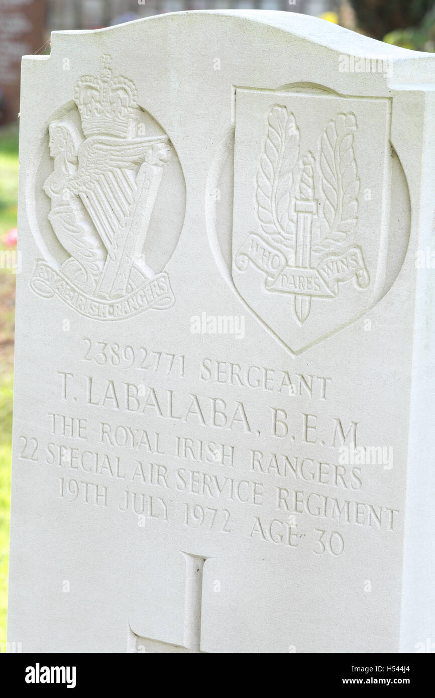 Sergeant T Labalaba grave headstone to 22 SAS Special Air Service regiment soldier killed at Mirbat Oman in 1972 - Stock Image