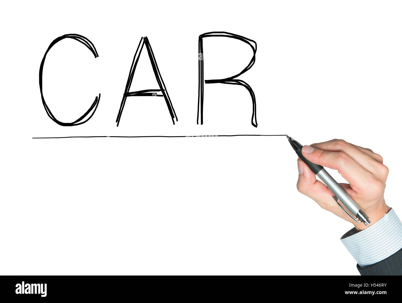 car written by hand, hand writing on transparent board, photo Stock Photo