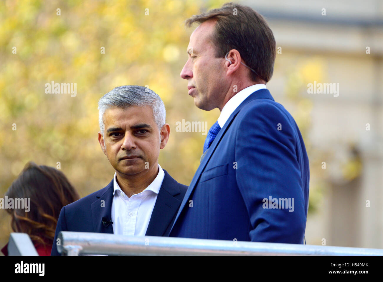 Sadiq Khan, Mayor of London, interviewed by BBC's Ben Brown at the Heroes Return celebration for the GB Olympic - Stock Image