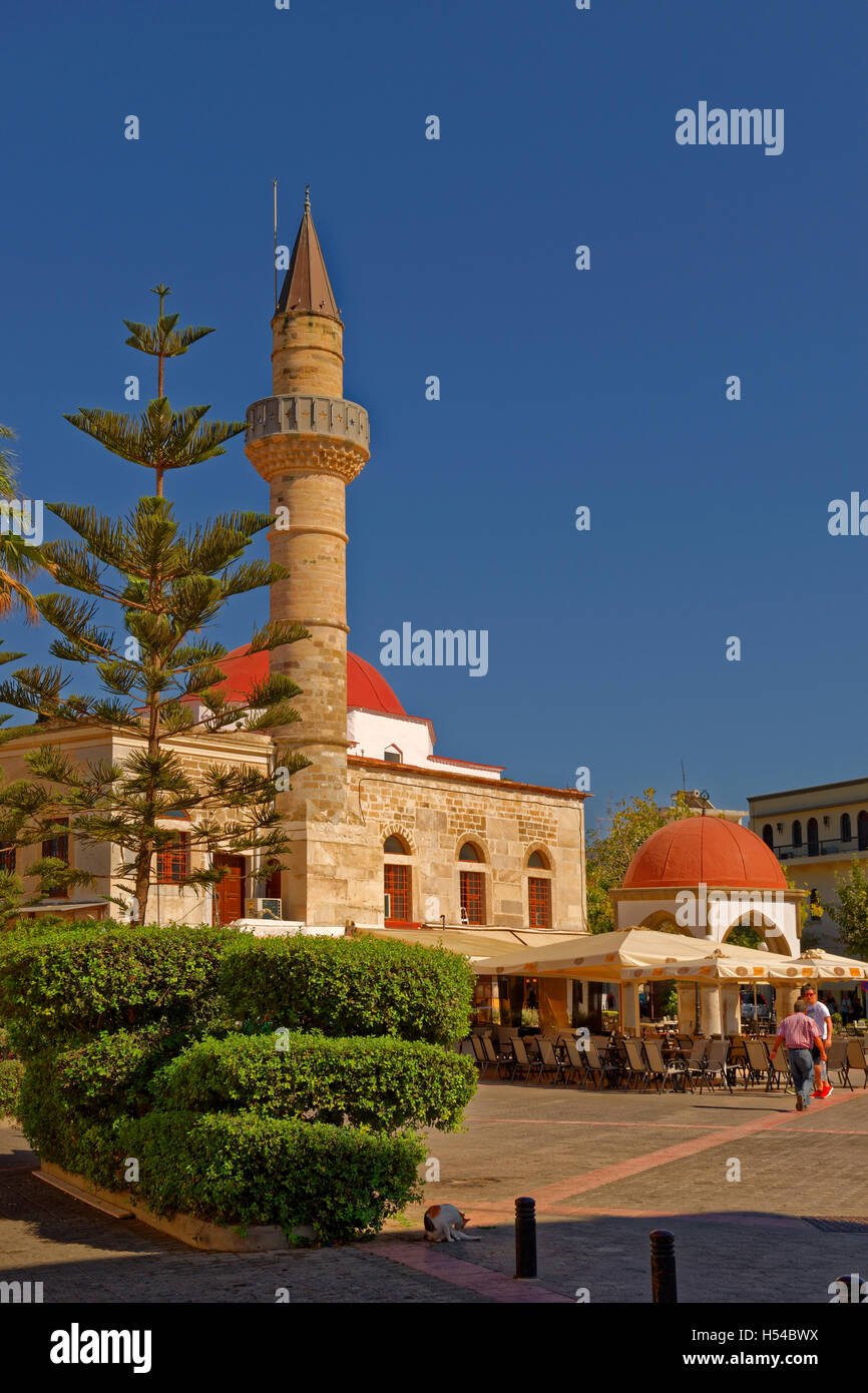 Main Town Square and Defterdar Mosque in Kos Town, Island of Kos, Dodecanese  South Aegean Greece Stock Photo