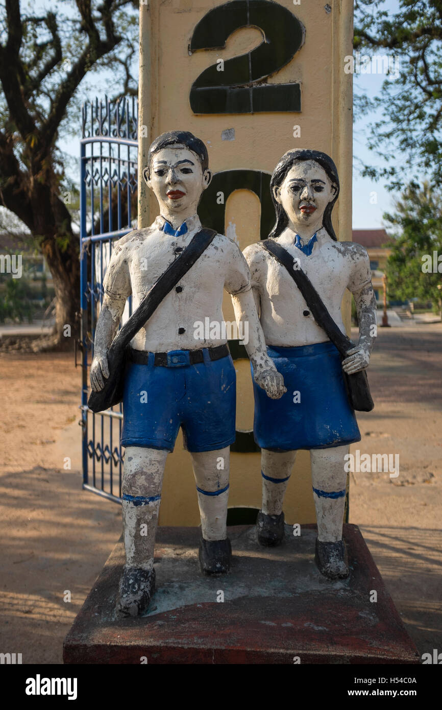 Sculpture outside Public School in Sihanoukville Cambodia - Stock Image