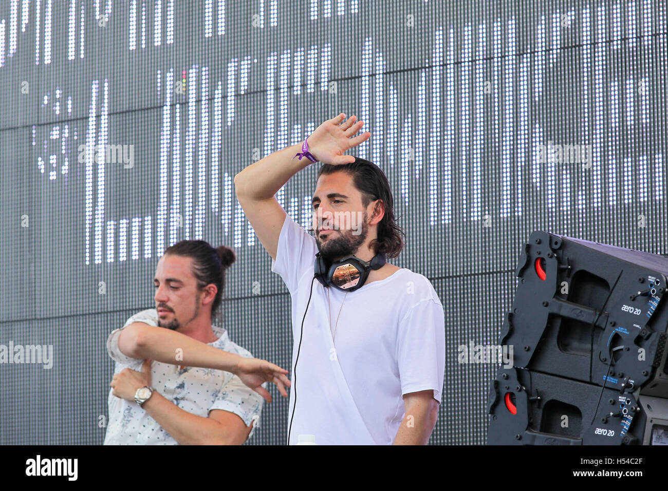 L-R) DJs Like Mike & Dimitri Vegas performing at the Sirius
