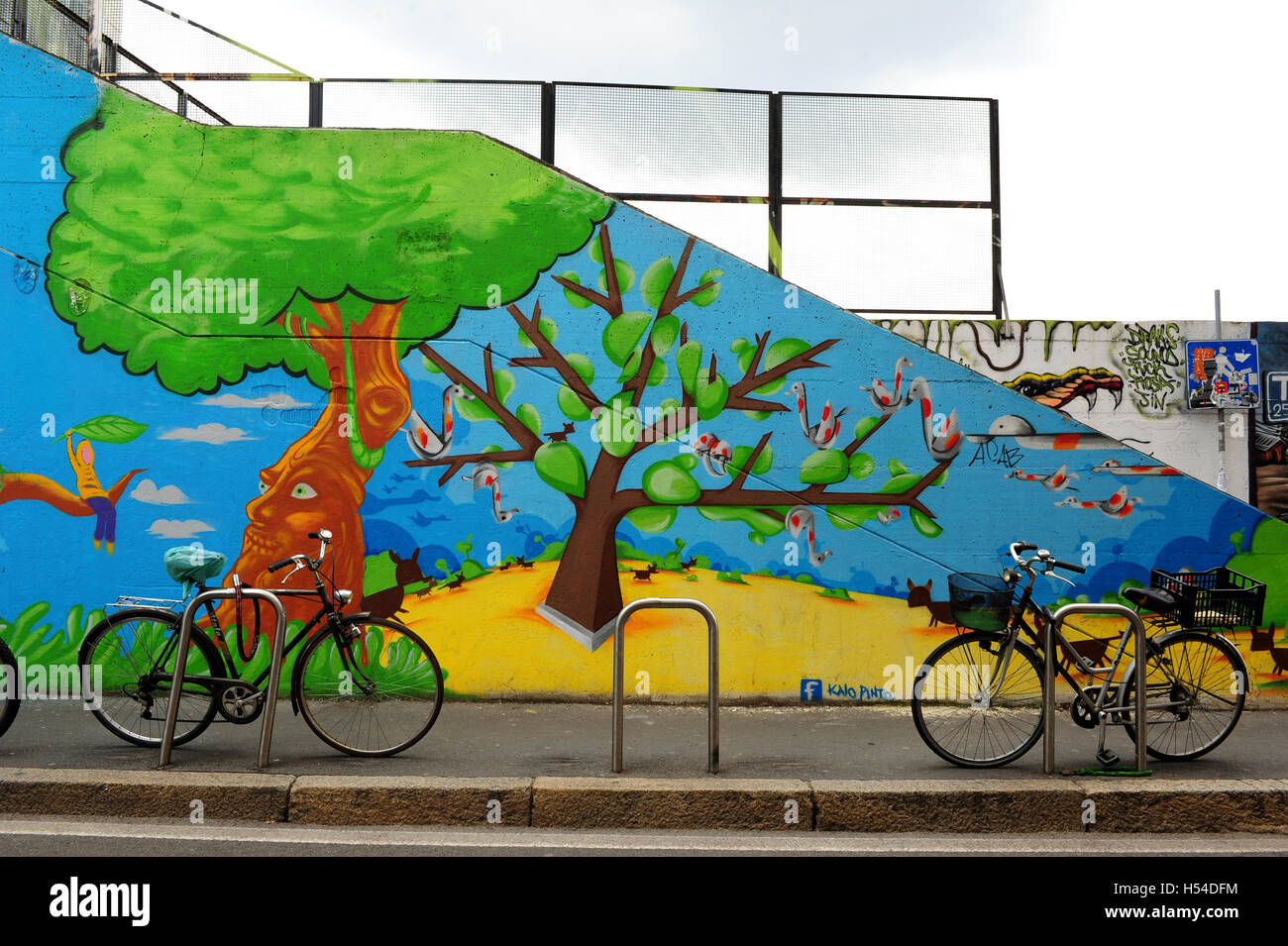 Colourful street art just off the Garibaldi train station, in the Isola district in Milan. Stock Photo