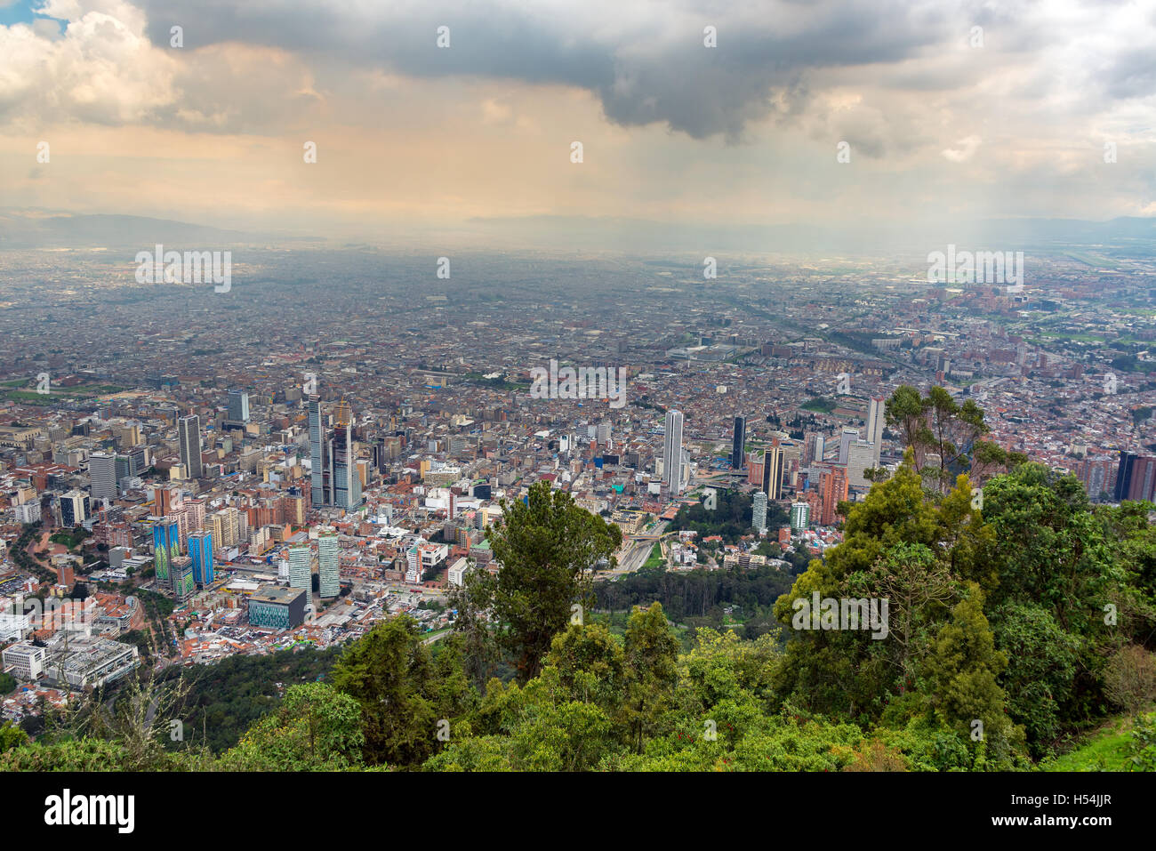 Cityscape of downtown Bogota, Colombia as seen from Monserrate - Stock Image