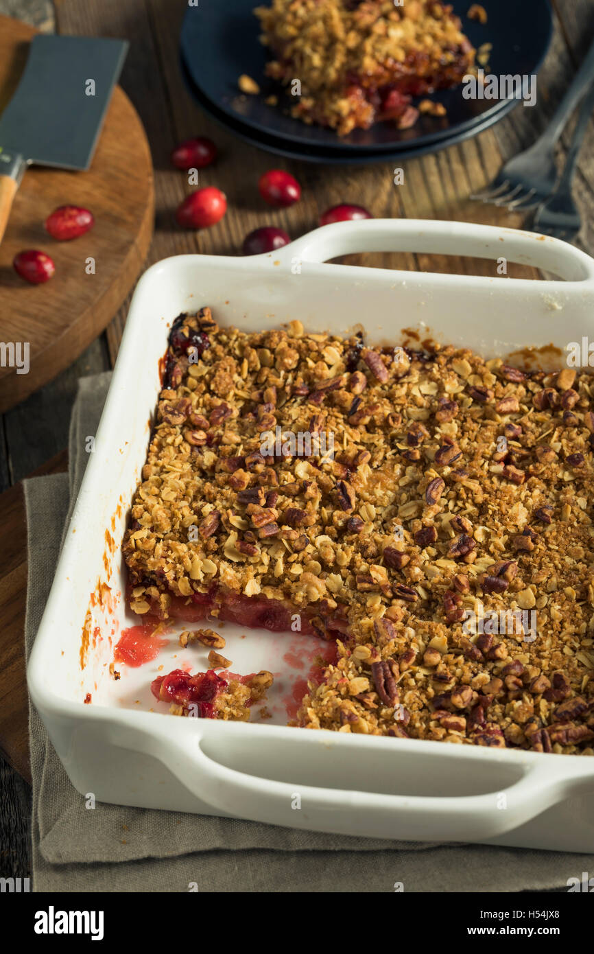 Homemade Cranberry Apple Cobbler Crumble Ready to Eat Stock Photo
