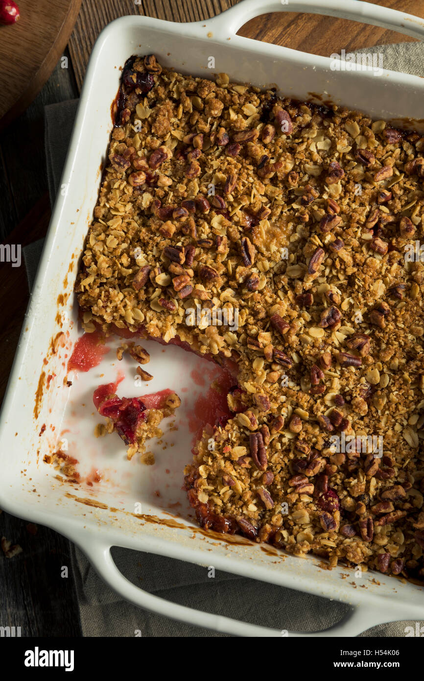 Homemade Cranberry Apple Cobbler Crumble Ready to Eat - Stock Image
