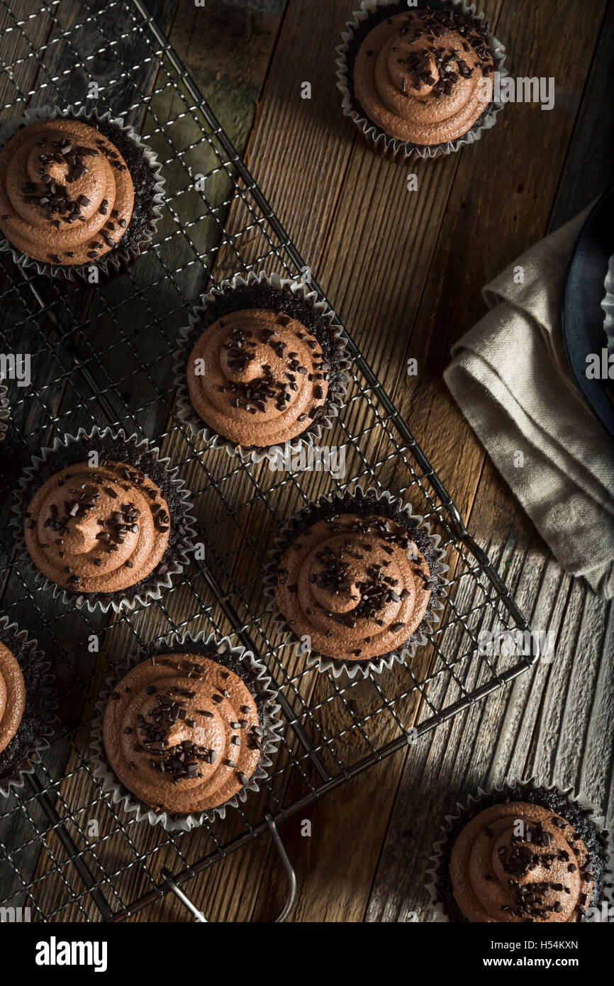 Homemade Sweet Chocolate Cupcakes with Dark Frosting on Top - Stock Image