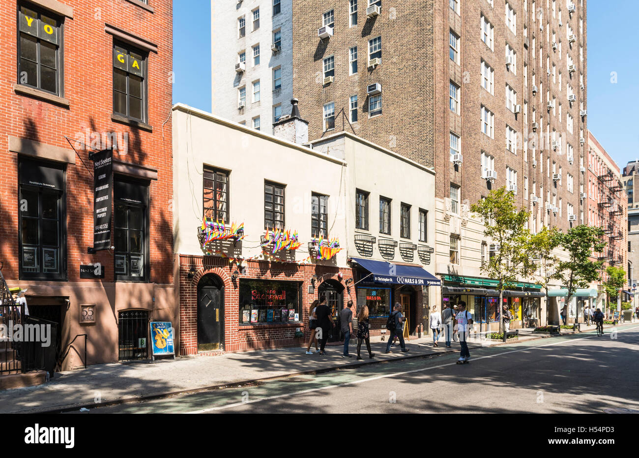 Stonewall Inn gay bar building exterior, now landmarked, is iconic in the gay rights movement - Stock Image