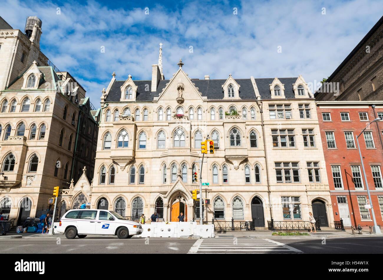 Landmarked Grace Memorial House, Neighborhood House, and Clergy House on Fourth Avenue, New York. Stock Photo