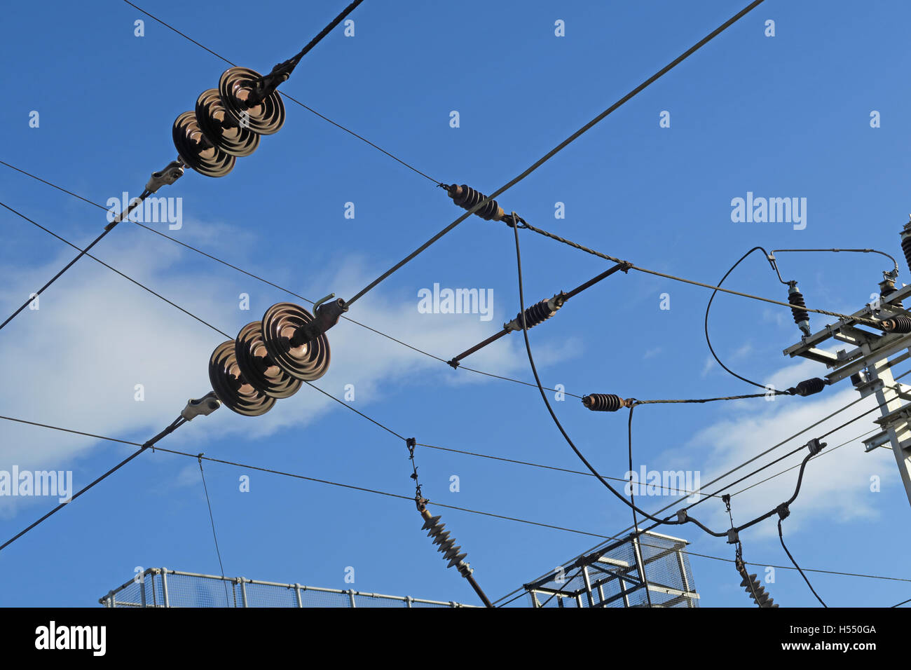 Overhead lines & insulators, electric train line,WCML,England,UK - Stock Image