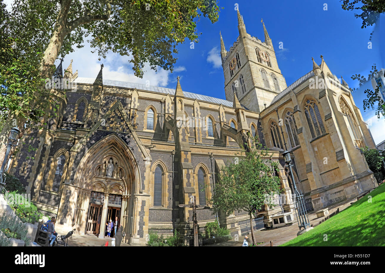 Southwark Cathedral panorama, South London, London Bridge, London SE1 9DA, view from Borough Market - Stock Image