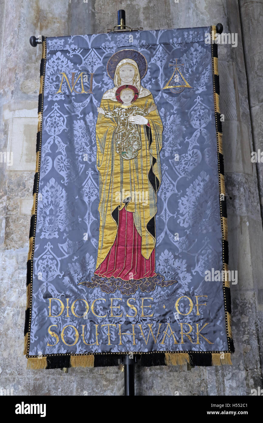 Diocese of Southwark Mothers Union Banner,London Bridge,England,UK - Stock Image