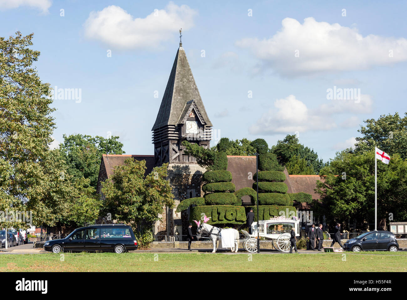 Funeral at St Mary's Church, Bedfont Green, Bedfont, London Borough of Hounslow, Greater London, England, United - Stock Image