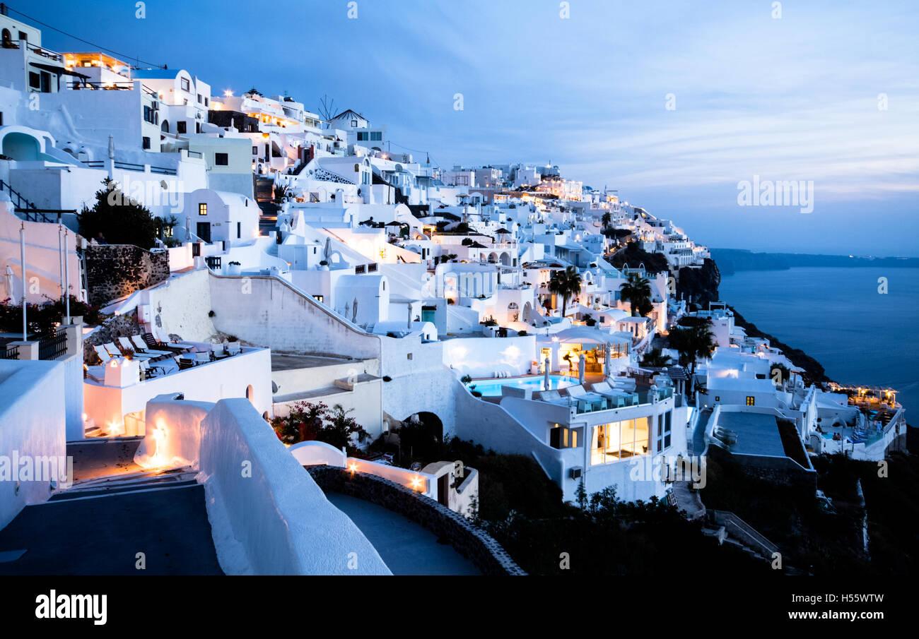 Santorini sunset - Cyclades - Greece - Stock Image