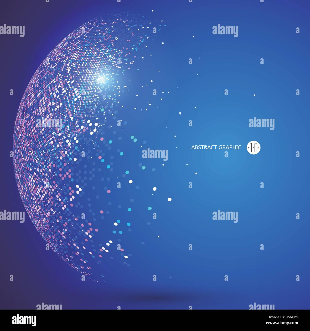 Colorful dots abstract sphere, science and technology vector illustration. - Stock Image