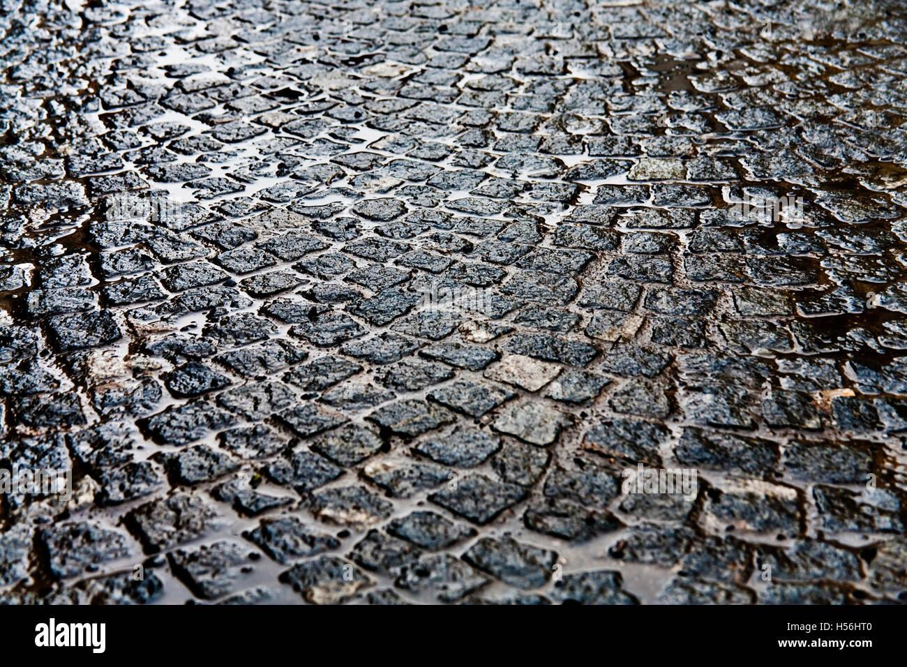 Cobblestones in the rain - Stock Image