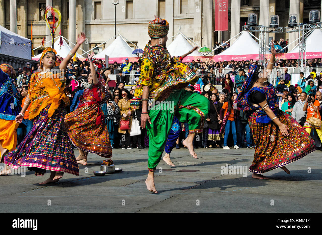 Annual Hindu Diwali festival of light in Trafalgar Square London - Stock Image