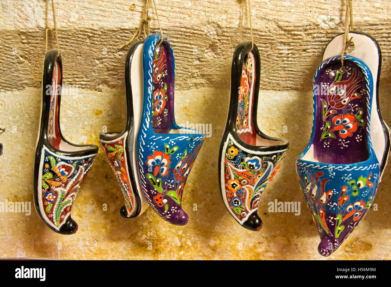 Turkey Holiday Souvenir traditional Slipper in made of ceramic - Stock Image