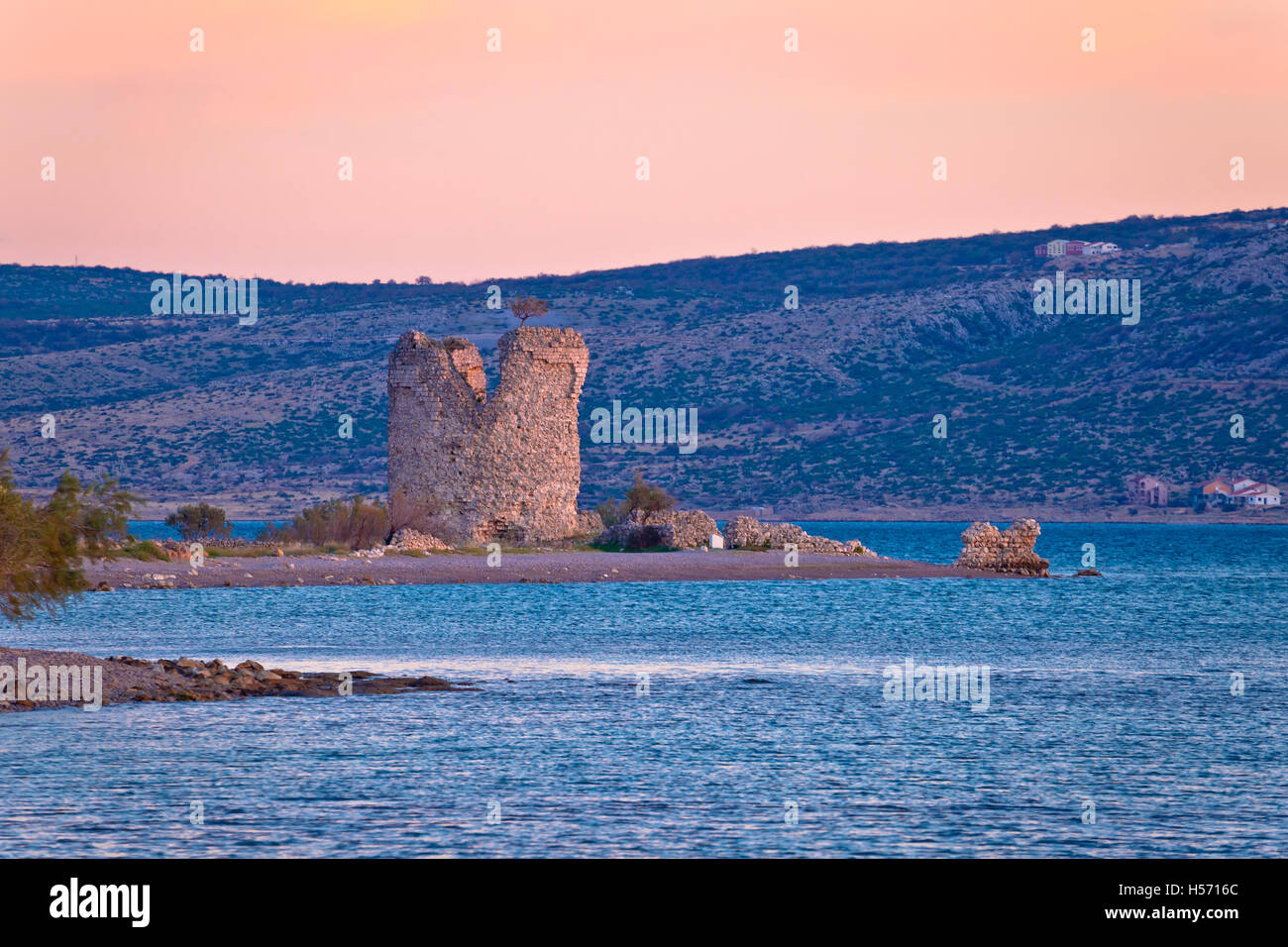 Starigrad Paklenica tower ruins by the sea, Dalmatia, Croatia - Stock Image