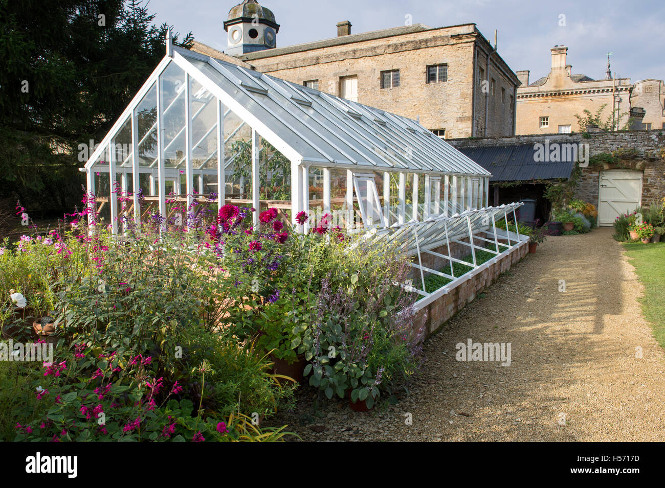 Greenhouse in autumn at Rousham House and Garden. Oxfordshire, England - Stock Image