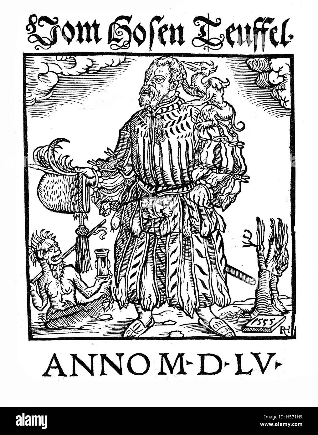 XVI century cover of Vom hosenteufel by Andreas Musculus German Lutheran theologian, criticizing the fashion transgressions - Stock Image