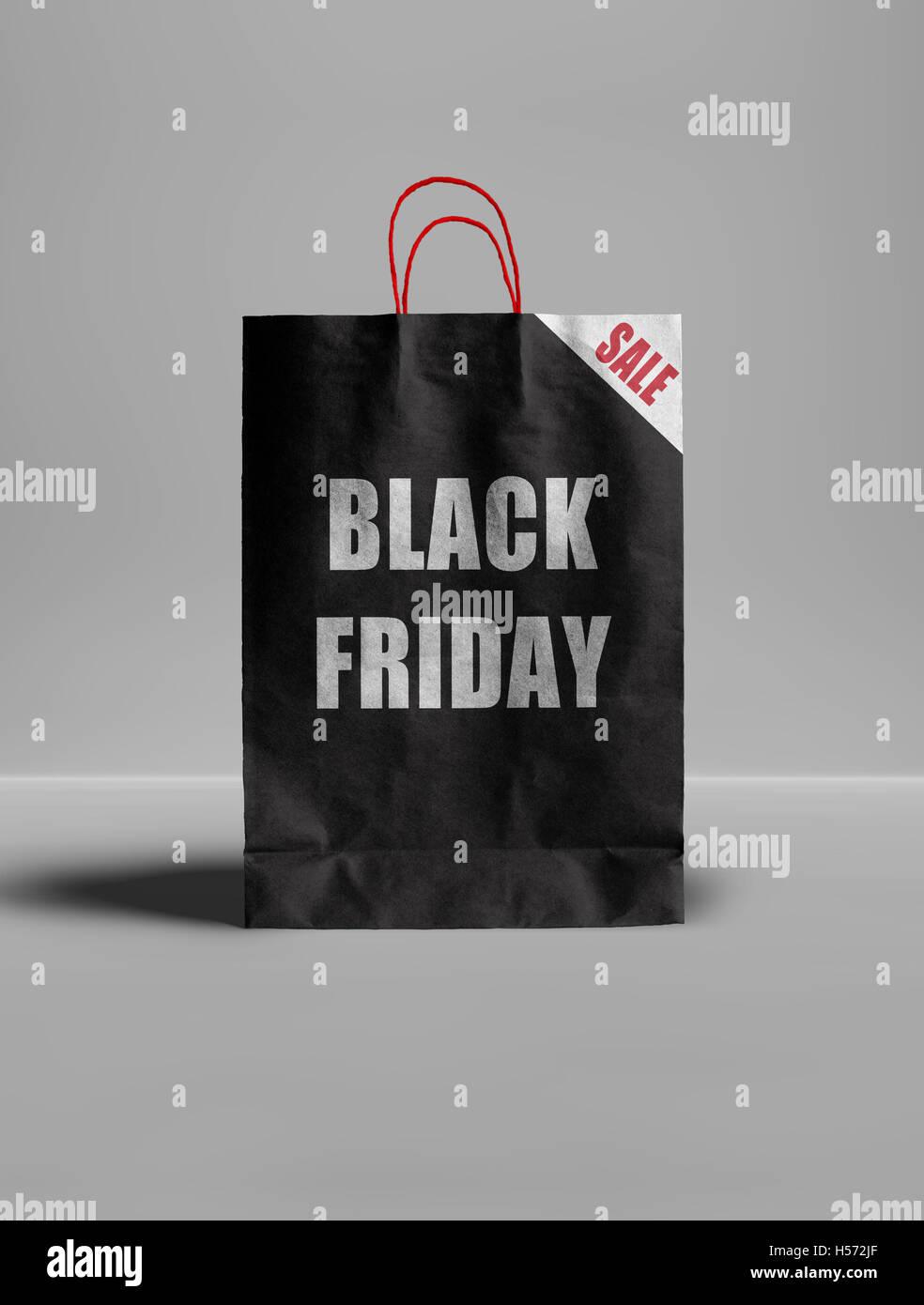 Black Friday paper bag. - Stock Image