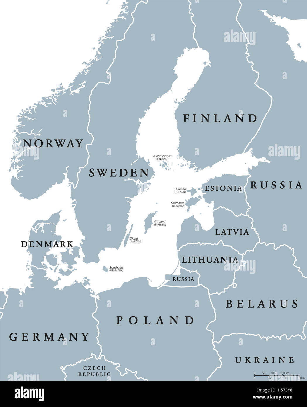 Baltic Sea area countries political map with national borders. Nations and states of Scandinavia. English labeling Stock Photo