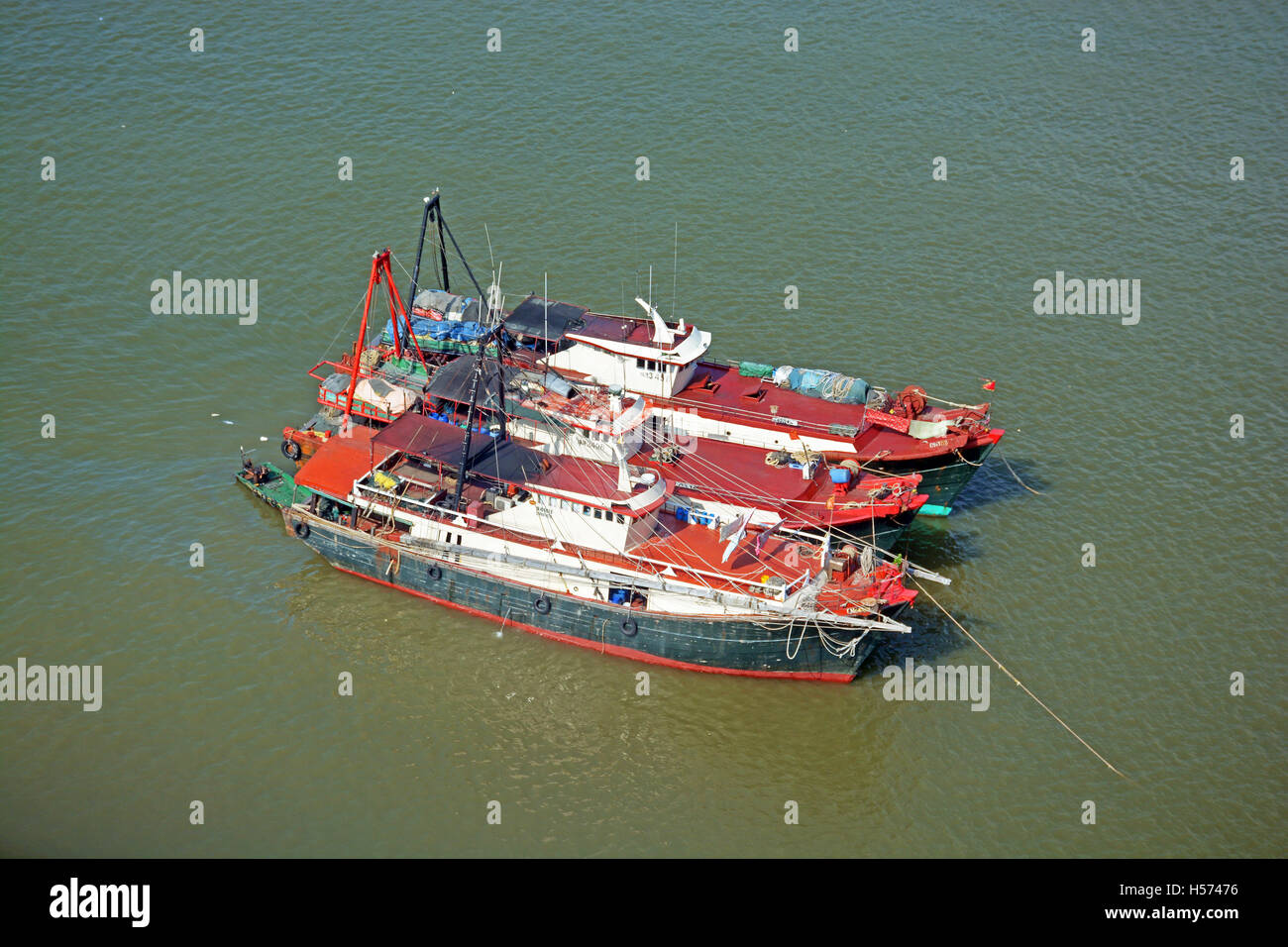 fishing boats on Pearl river Macau China - Stock Image