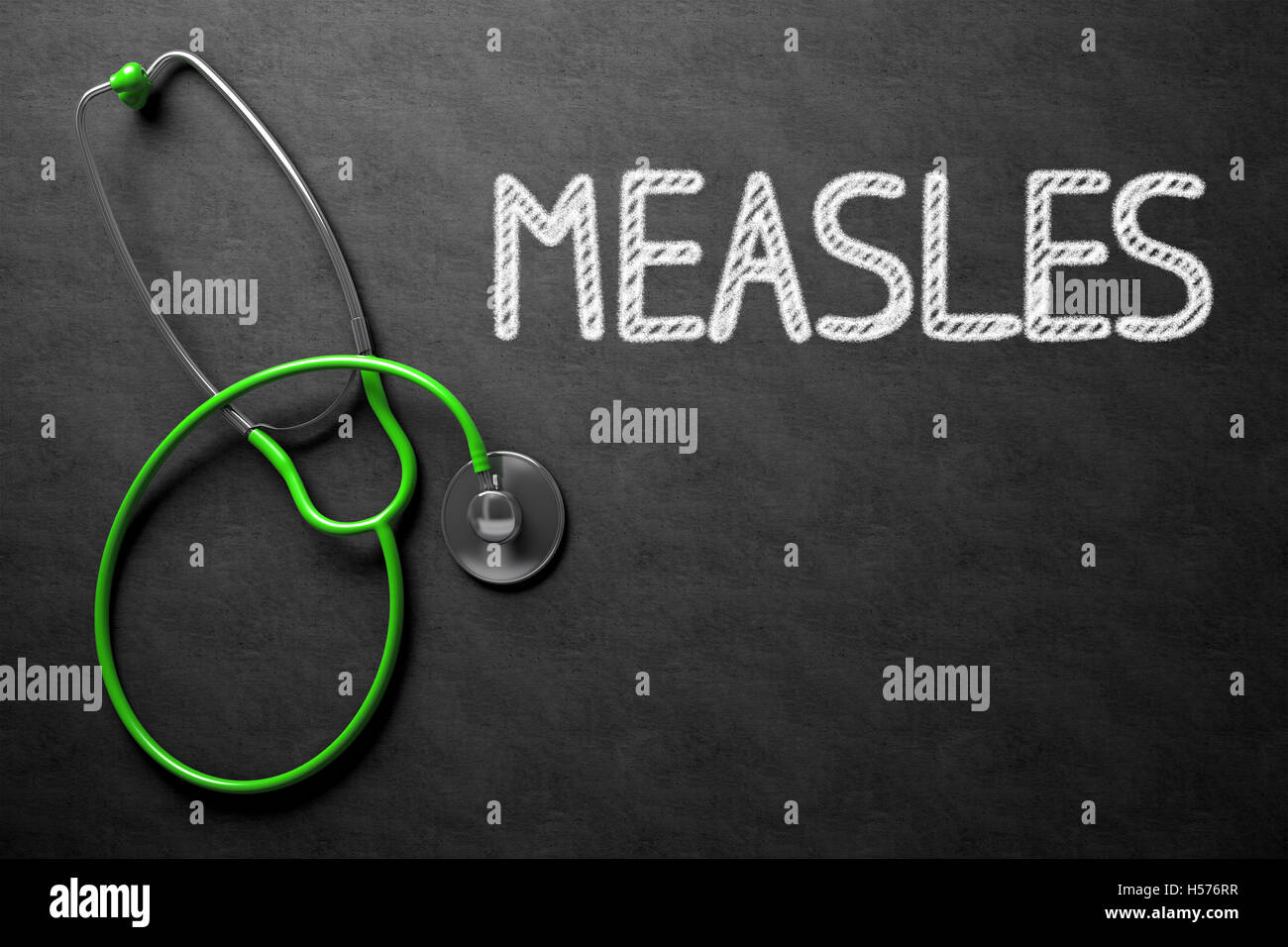 Measles - Text on Chalkboard. 3D Illustration. Stock Photo