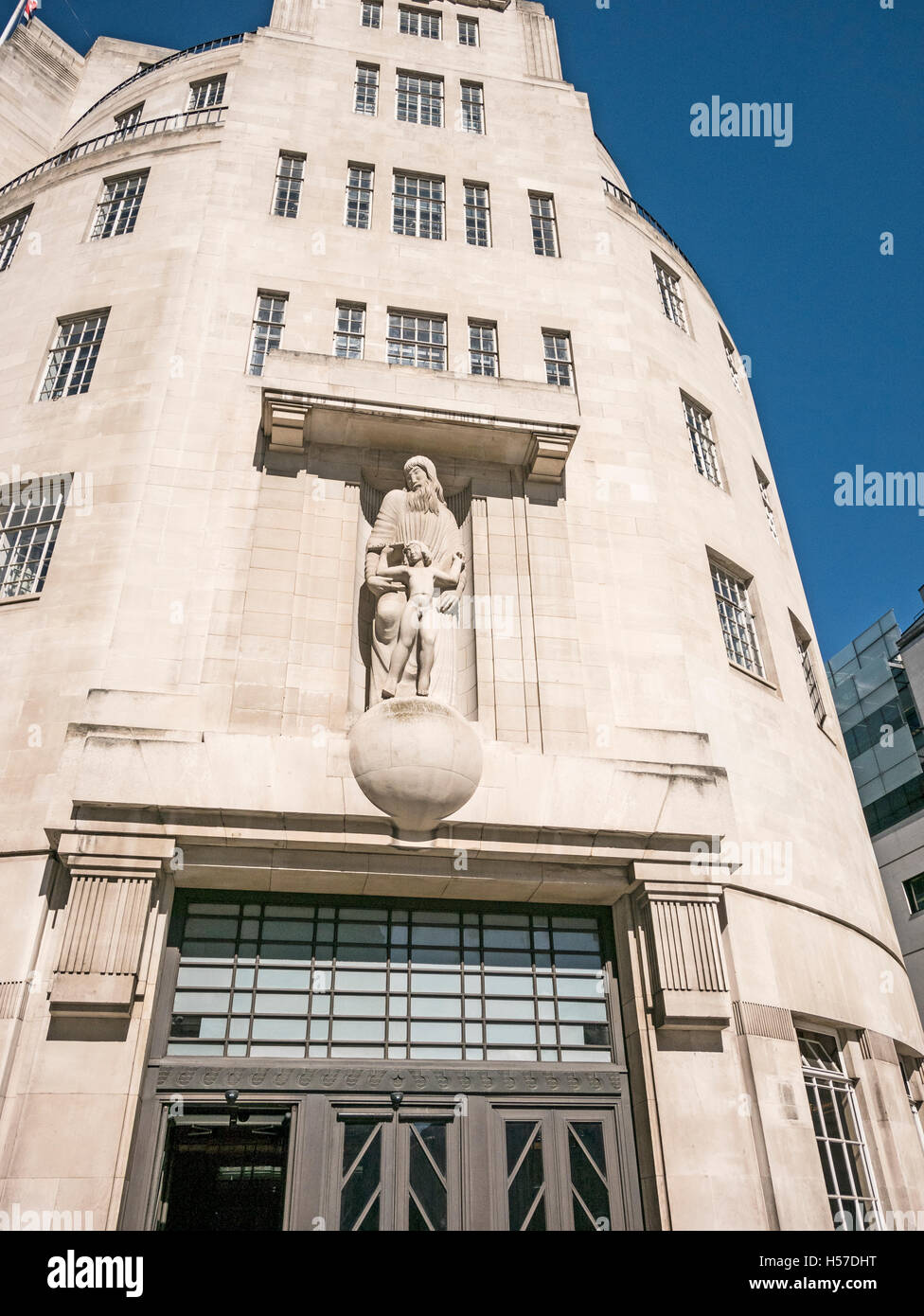 BBC Broadcasting House London UK built in Langham Place 1932 in Art Deco Style with Eric Gill Sculpture of Prospero - Stock Image
