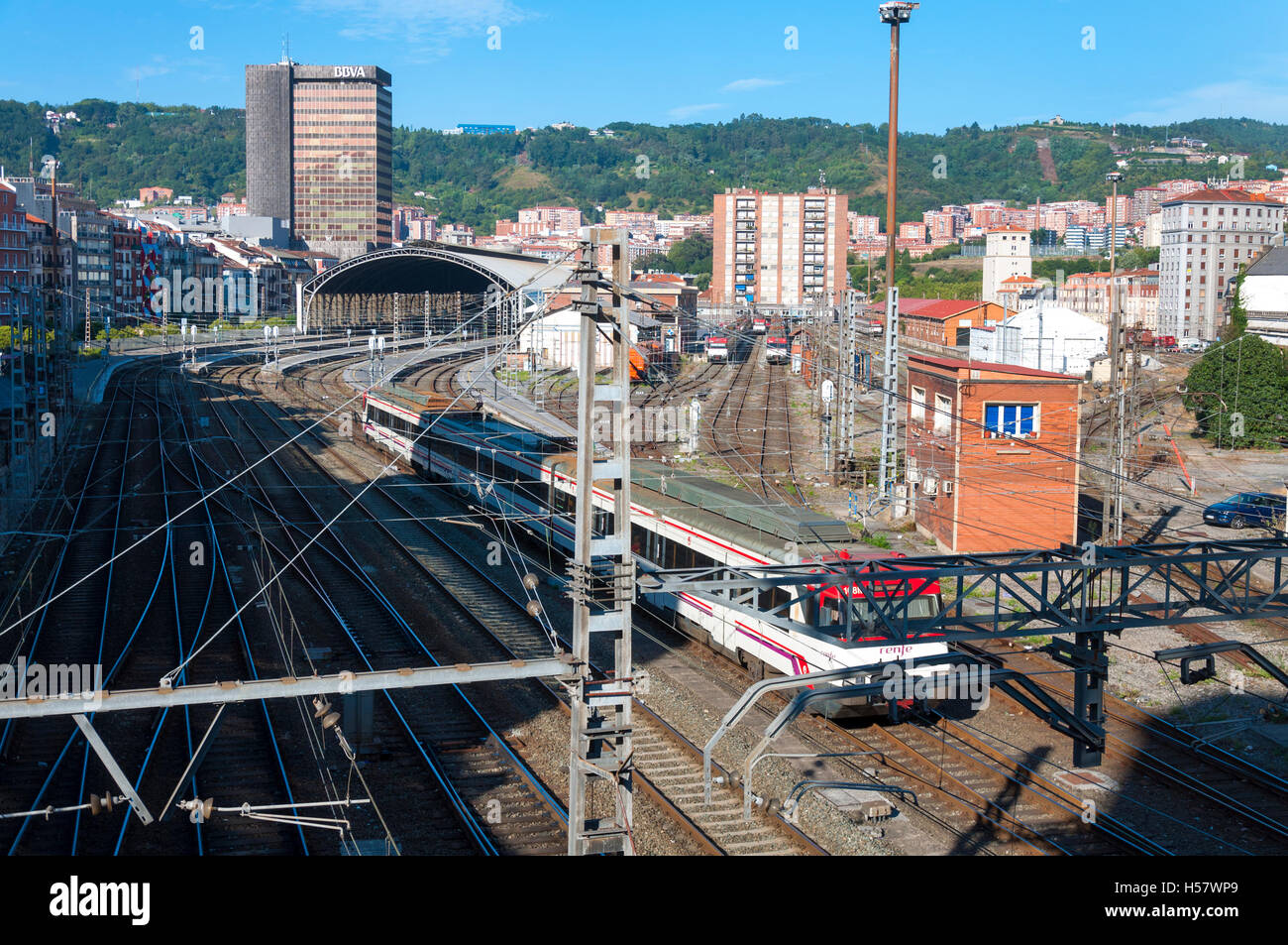 Train leaves Bilbao railway station, Basque region, Spain - Stock Image