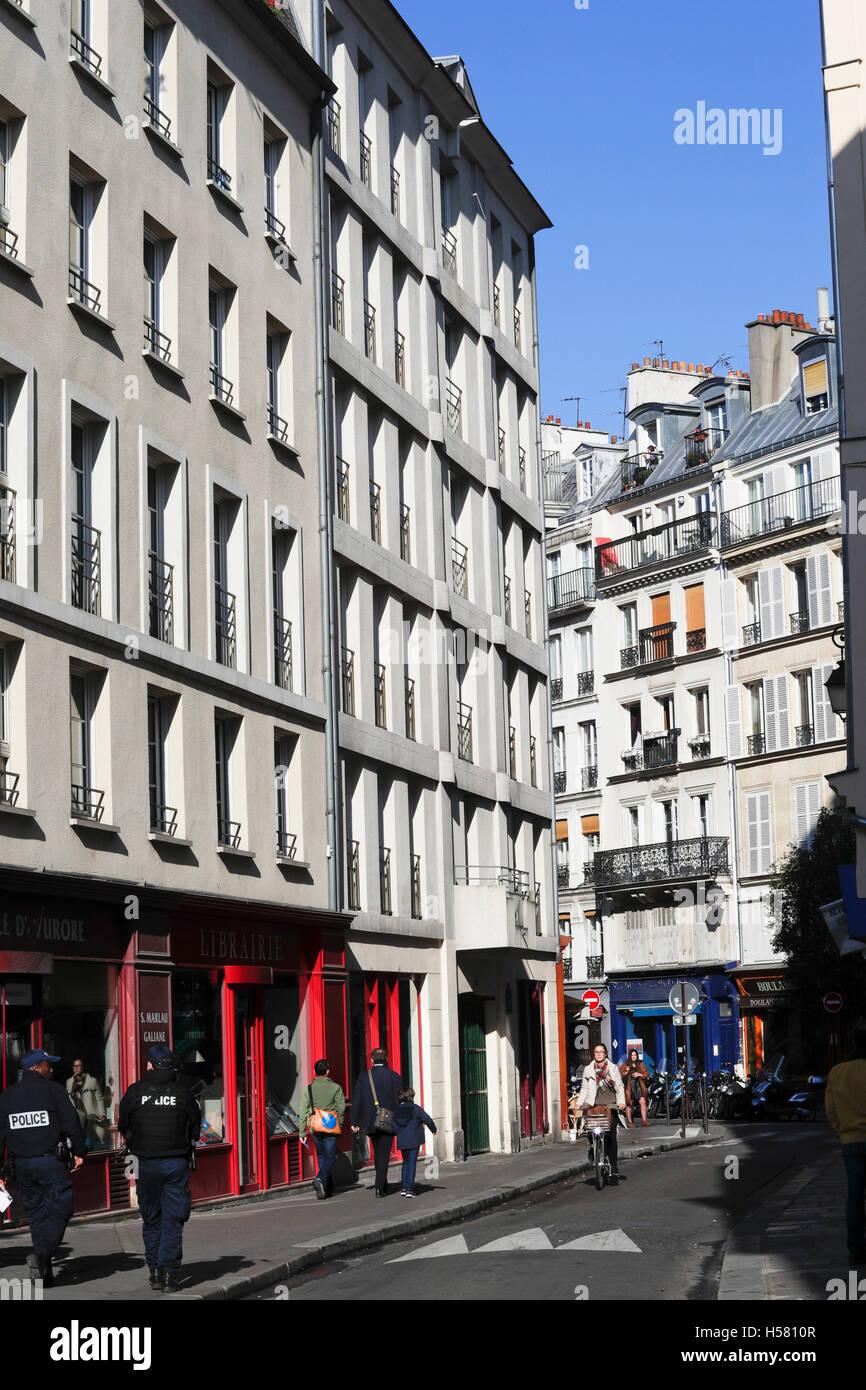 Marais, street scene in Paris, France - Stock Image