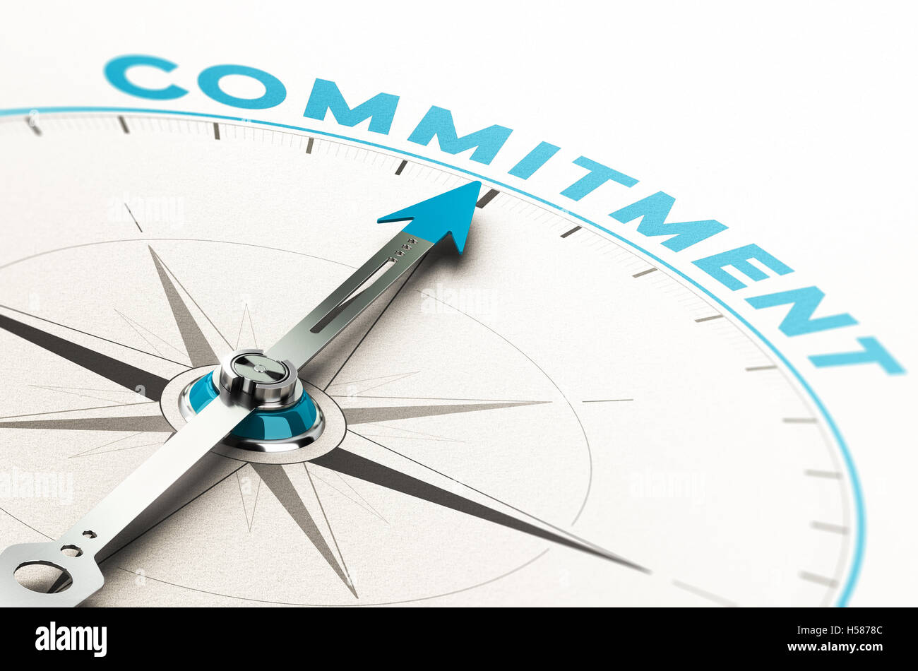 Conceptual compass with needle pointing the word commitment. 3D illustration with cian and beige tones. - Stock Image