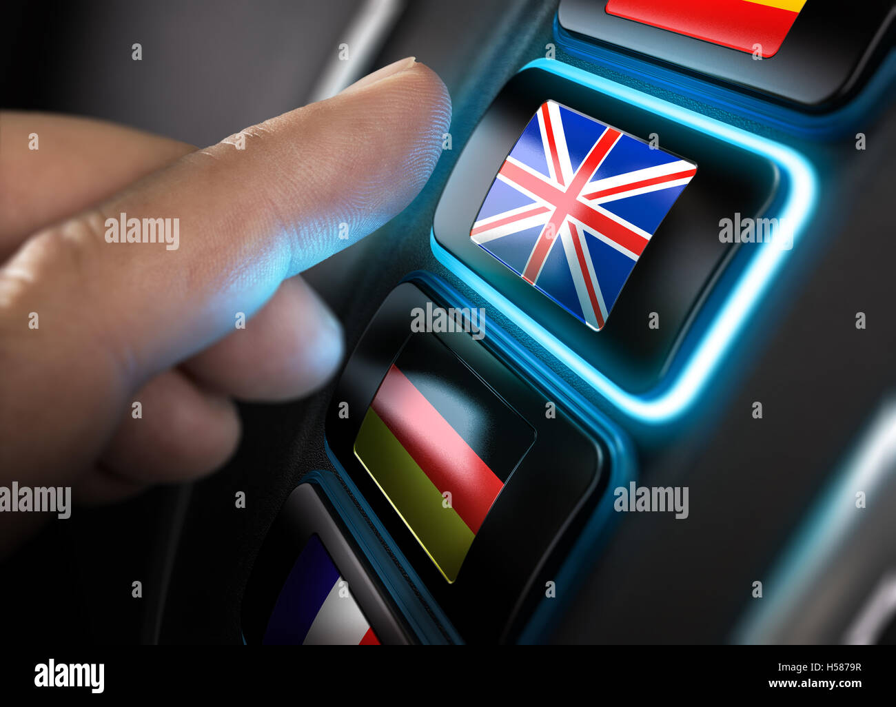 Finger about to press an english translation button on a conceptual language dashboard. Composite between an image - Stock Image