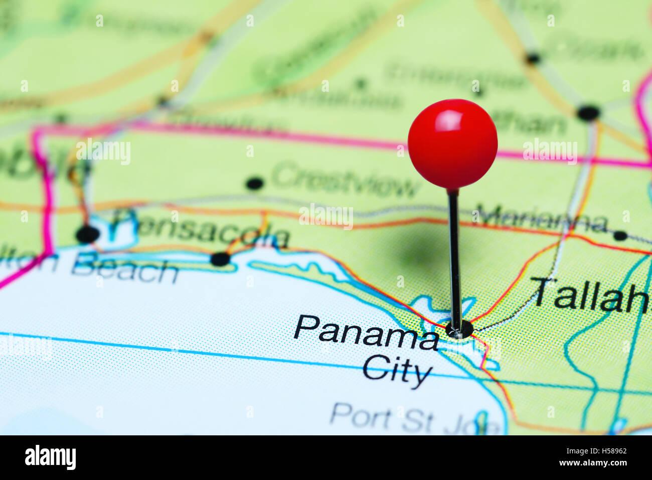 Panama City Map Of Florida.Panama City Pinned On A Map Of Florida Usa Stock Photo 123728698